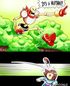 Papyrus and Frisk - pokemon parody Gif Undertale, Frisk, Undertale Pokemon, Undertale Comic Funny, Video Minecraft, Ciel Nocturne, Toby Fox, Underswap, Chef D Oeuvre