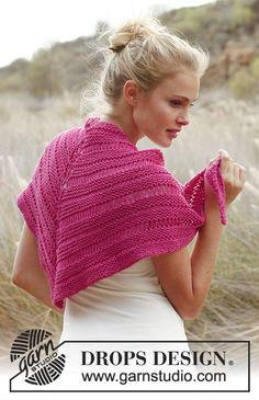 DROPS šátek se spouštěnými oky pletený z příze Merino Extra Fine. Návod DROPS Design zdarma.