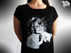 Unicorn girl t shirt, http://www.etsy.com/listing/93192757/t-shirt-women-girl-unicorn-black-white