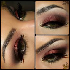 Fall makeup for Green Eyes and maybe to combine with a #crimson #quince #dress