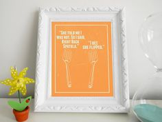 "Funny Kitchen Art Print ""She told me I was hot. So I said, right back spatula. I bet she filled."" 8 x 10"