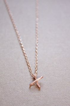 Letter X Necklace Silver Gold Rose Gold Initial by DiAndDe on Etsy
