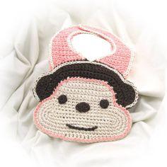 Crochet Monkey Bib Pattern PDF by NeedleNoodles on Etsy Crochet Baby Bibs, Crochet Monkey, Crochet For Kids, Crochet Hooks, Knit Crochet, Crochet Girls, Crochet Stitches, Crochet Patterns, Bib Pattern