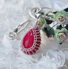 Hot Pink Chalcedony Pendant Necklace WovenWire by NMBeadsJewelry