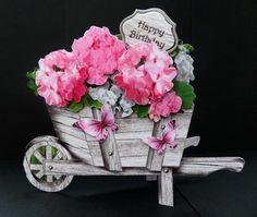 Pink Geraniums Rustic Wheelbarrow Shaped Card Kit on Craftsuprint designed by Robyn Cockburn - made by Bernie Mclaughlin -http://www.craftsuprint.com/card-making/mini-kits/mini-kits-floral/?&designer=123&r=796943
