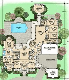 Estate Home Plan with Cabana Room - 36323TX | 1st Floor Master Suite, Butler Walk-in Pantry, CAD Available, Corner Lot, Den-Office-Library-Study, European, In-Law Suite, Luxury, MBR Sitting Area, Media-Game-Home Theater, Multi Stairs to 2nd Floor, PDF | Architectural Designs