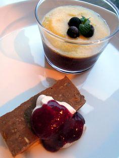 Avocado chocolate cake and blueberry pudding