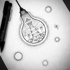 #art #drawings #lightbulb #lighthouse