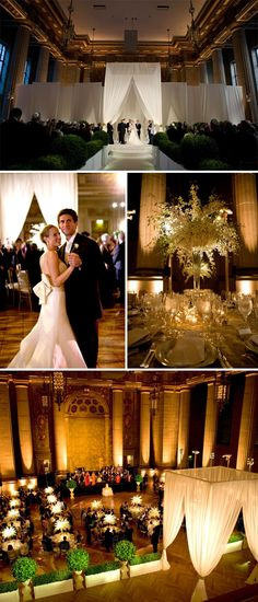 """This beautiful couple was married at the Andrew W. Mellon auditorium. Oh, I am in love with those flowers (dendrobium orchids) and the gorgeous decor, designed by Amaryllis, Inc. This wedding was planned by Aimee Dominick, of A.Dominick Events, and the invitation likely read """"Black Tie Optional."""" Technically, that means the couple would prefer for…"""
