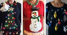 Ugly Christmas Sweaters - Ugly Christmas Sweater - It's Ugly Christmas Sweater Time: 3 Tree-Mendously Tacky Ideas Homemade Ugly Christmas Sweater, Tacky Christmas Sweater, Ugly Christmas Shirts, Felt Christmas, Diy Christmas Gifts, Christmas Outfits, Christmas Decor, Holiday Decor, Cheap Ugly Sweaters