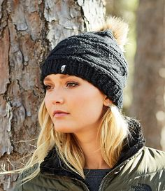 The North Face Cable-Knit Beanie with Faux-Fur Pom Fur Pom Pom ce743a96d8f