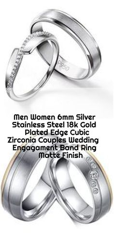 Men Women 6mm Silver Stainless Steel 18k Gold Plated Edge Cubic Zirconia Couples Wedding Engagament Band Ring Matte Finish , Men Women 6mm Silver Stainless Steel 18k Gold Plated Edge Cubic Zircon - InnovatoDesign... ,  #18k #6mm #band #couples #Cubic #Edge #Engagament #Finish #gold #Matte #men #Plated #ring #Silver #Stainless #Steel #Wedding #Women #Zirconia Wedding Couples, Wedding Bands, Platinum Wedding, Band Rings, 18k Gold, Plating, Stainless Steel, Engagement Rings, Silver
