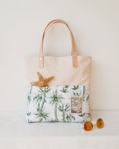 Palm Tree Beach Bag / Canvas Beach Tote / by theAtlanticOcean