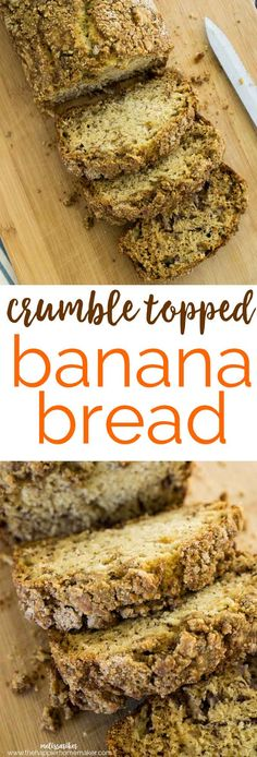 Easy banana bread recipe made even better with a sweet, crunchy streusel topping! One of my favorite quick bread recipes!