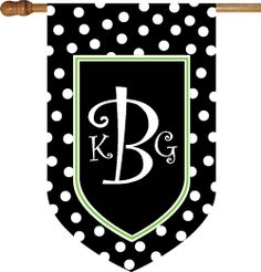 Polkadot Black with Border - Monogram House Flag : Personalized Gifts - Preppy Monogrammed Gifts @ 2PreppyGirls.com
