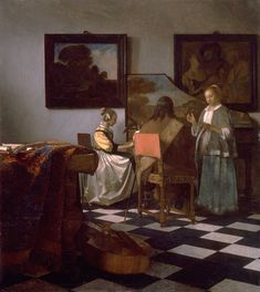 Johannes Vermeer The Concert, , Isabella Stewart Gardner Museum, Boston. Read more about the symbolism and interpretation of The Concert by Johannes Vermeer. Johannes Vermeer, Van Gogh Museum, Art Museum, Rembrandt, Lost Art, Bode Museum, Vermeer Paintings, Art History, Fine Art