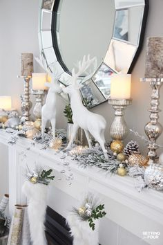 Glam Gold and White Christmas Home Tour & 30 Vacation Homes - Weihnachtsmantel-D . - Glam Gold and White Christmas Home Tour & 30 Vacation Homes – Christmas Coat Decoration Ideas: Se - Christmas Mantels, Christmas Home, Christmas Holidays, Christmas Movies, Christmas Trees, Xmas, Christmas Villages, Christmas Vacation, Blue Christmas