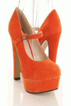 Orange Suede High Heels