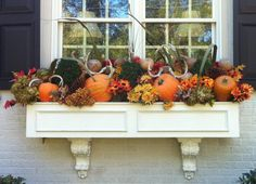 from Enchanted Home ~ window box for front porch, behind white Luytens bench