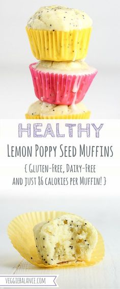 Healthy Snacks For Kids Healthy Lemon Poppy Seed Muffins recipe is super moist made with natural ingredients, gluten-free, dairy-free and low-sugar. Just 86 calories per muffin! Gluten Free Muffins, Healthy Muffins, Gluten Free Baking, Healthy Sweets, Gluten Free Desserts, Healthy Baking, Healthy Snacks, Dessert Recipes, Healthy Muffin Recipes