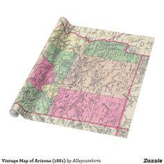 Vintage Map of Arizona (1881) Wrapping Paper