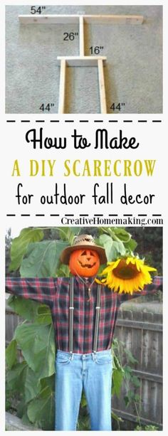 Easy, inexpensive DIY scarecrow you can use year after year to decorate for fall or Halloween. Fall Festival Decorations, Halloween Decorations, Fall Decorations, Seasonal Decor, Fun Diy Crafts, Fall Crafts, Thanksgiving Crafts, Make A Scarecrow, Scarecrow Ideas