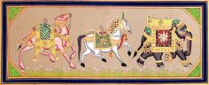 Decorated Royal Camel, Horse and Elephant (Miniature Painting on Cardboard - Unframed)