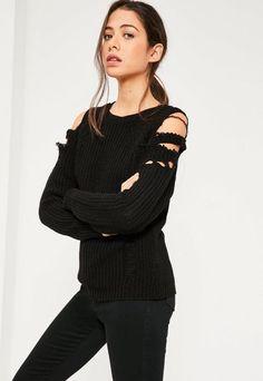 Black Distressed Cold Shoulder Sweater Black