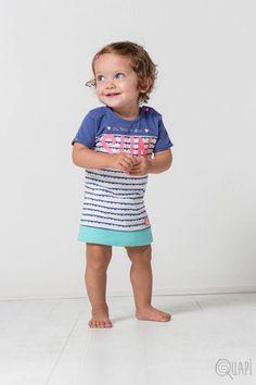 Quapi | Dress Felipa Jeans Blue Stripe Teen Boys, Baby Girls, Blue Stripes, Babys, Jeans, Face, Dresses, Fashion, Blue Streaks