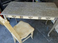 Desk and chair in Annie Sloan Cream and French Linen paint.  Royal Design Scrollallover Stencil.