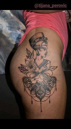 butt / hip tattoo / mandala / nefertiti / lotus / tattoo - List of the most beautiful tattoo models Dope Tattoos, Hip Tattoos Women, Trendy Tattoos, Body Art Tattoos, Sleeve Tattoos, Tattoo Hip, Lotus Tattoo, Afro Tattoo, Mandala Hip Tattoo