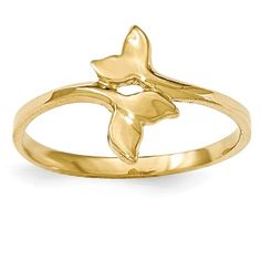 14K Gold Polished Double Whale Tale Ring