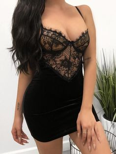 Eyelash Lace Splicing Cami Party Dress Fashion Trends, Styles and Tips for Women in 2018 womens fashion chicme wedding Club Dresses, Sexy Dresses, Nice Dresses, Womens Fashion Online, Latest Fashion For Women, Fashion Women, Trend Fashion, Fashion Outfits, Fashion 2018