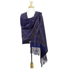 NOVICA Blue Cotton Zapotec Rebozo Shawl with Colorful Motifs (€43) ❤ liked on Polyvore featuring accessories, scarves, blue, clothing & accessories, shawls, blue scarves, novica, fringed shawls, blue shawl and crochet shawl