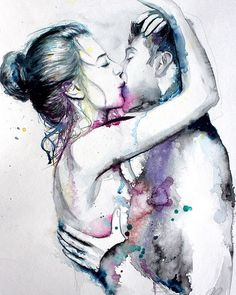 "'Love' watercolor by Tatyana Ilieva Bulgary. ~`~ As in Adam & Eve - You ""Feel the Feel"" of - We are Part of each Others Rib ~ !"