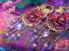 Red Rose Chandelier Earrings Lilac Purple Crystal Flower by kerala, $85.00
