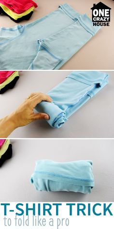 Pack like a pro! Use this t-shirt hack the next time you travel. By rolling your shirts you save space in your luggage!