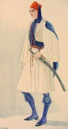 Greek Men's Town Costume of 1835 - Nicolas Sperling Fashion Art, Vintage Fashion, Fashion Design, Greek Independence, Greek Traditional Dress, Greek Town, Greek History, Costume Collection, Greek Clothing