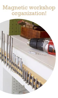 What a great idea! Mount a magnetic strip in your workshop to hold all those small metal pieces! #universaltrim @kelly frazier Pfister Faucets