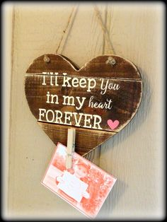 Rustic Wooden Heart, Picture Display, Teacher Gift, Miss You Plaque