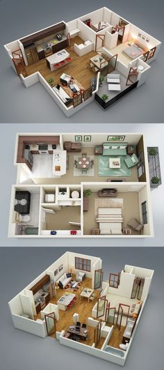 One-Bedroom Apartment / House Plans - Visualizer: Rishabh Kushwaha Apartment Layout, Apartment Plans, Apartment Design, Apartment Ideas, Sims 3 Apartment, Cheap Apartment, Apartment Living, 3d House Plans, Small House Plans