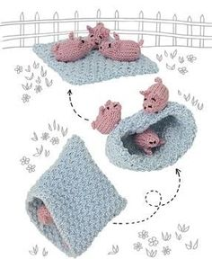Topsy-Turvy Inside Out Knit Toys .  Free Pattern and tutorial with pictures on how to make a pig plushie