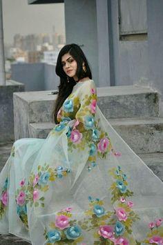 #beauty #dresses Saree Painting Designs, Fabric Paint Designs, Painting Patterns, Dress Painting, Fabric Painting, Hand Painted Sarees, Fancy Dress Design, Organza Saree, Elegant Saree