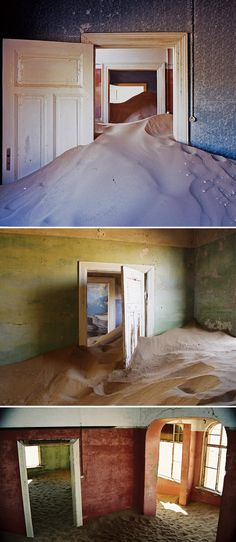Kolmanskop, a ghost town in the desert of southern Namibia, Africa. In the 1900s, diamonds were discovered just sitting upon the sand, waiting to be found, so people from all over the world with diamond fever flocked there. After the First World War when diamonds sales dropped, the sand-clearing squad failed to show up. Kolmanskop turned into a ghost town being buried by sand and trapped in time.