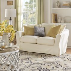 Sofa Covers Ellyson Flared English Arm Slipcovered Feather Down Loveseat by Tribecca