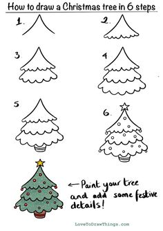 Easy Christmas Drawings, Christmas Doodles, Diy Christmas Cards, Christmas Crafts For Kids, Christmas Art, Holiday Crafts, How To Draw Christmas Tree, Simple Christmas Tree Drawing, Cute Easy Drawings