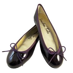 """Henrietta Dark Purple Patent Leather ~ London Sole """"Be Mine Collection"""" 15% off all red, pink & purple ballet flats Feb. 1st -14th at www.londonsole.com"""