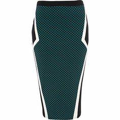 Green textured color block pencil skirt - tube / pencil skirts - skirts - women