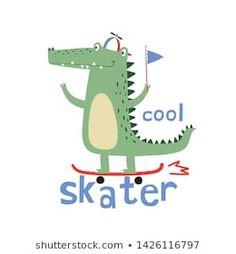 cute crocodile vector drawn for tee print