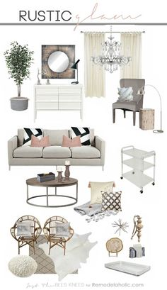 Tips for decorating in a rustic glam style -- a great blend of sparkly and chic with some masculine natural touches.
